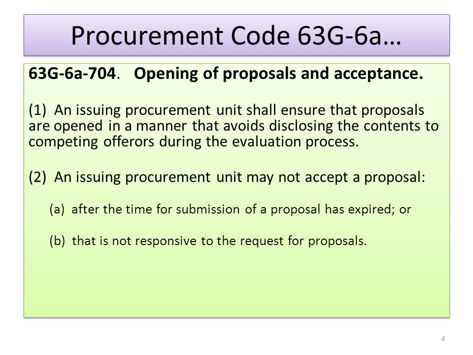 Procurement Code 63G-6a… 63G-6a-704. Opening of proposals and acceptance.