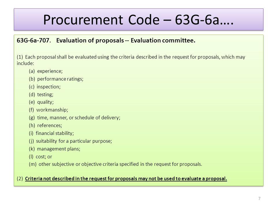 Procurement Code – 63G-6a….