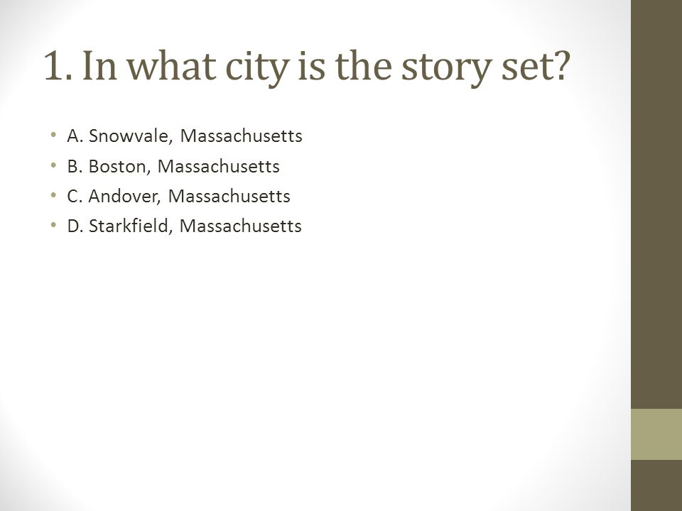 1. In what city is the story set