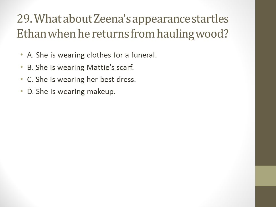 29. What about Zeena s appearance startles Ethan when he returns from hauling wood