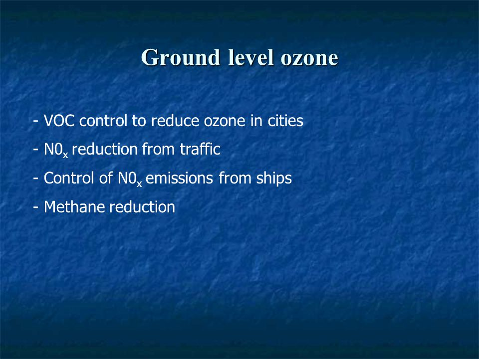 Ground level ozone - VOC control to reduce ozone in cities