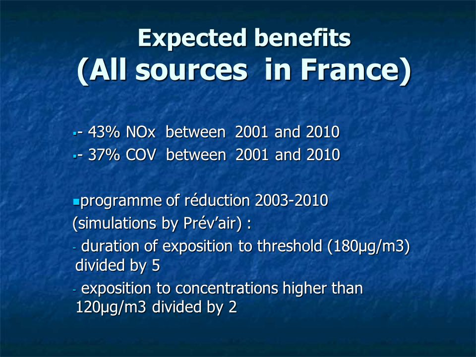 Expected benefits (All sources in France)