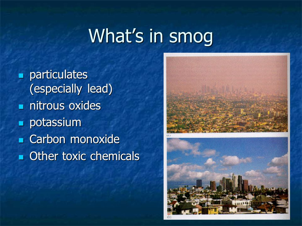What's in smog particulates (especially lead) nitrous oxides potassium