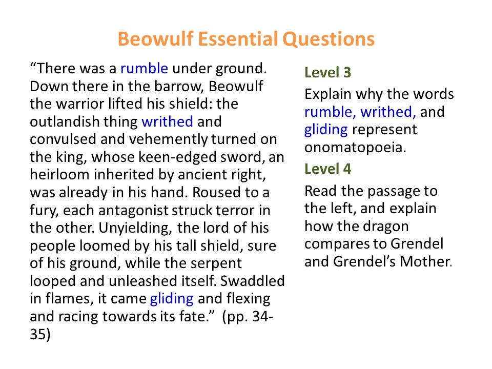 Beowulf Essential Questions