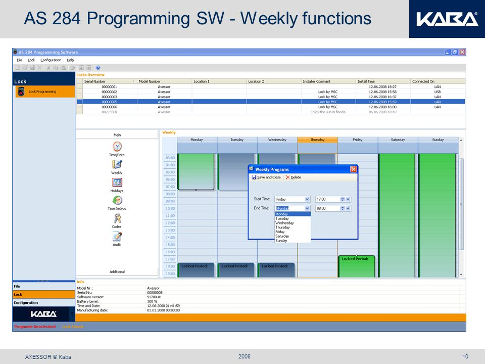 AS 284 Programming SW - Weekly functions