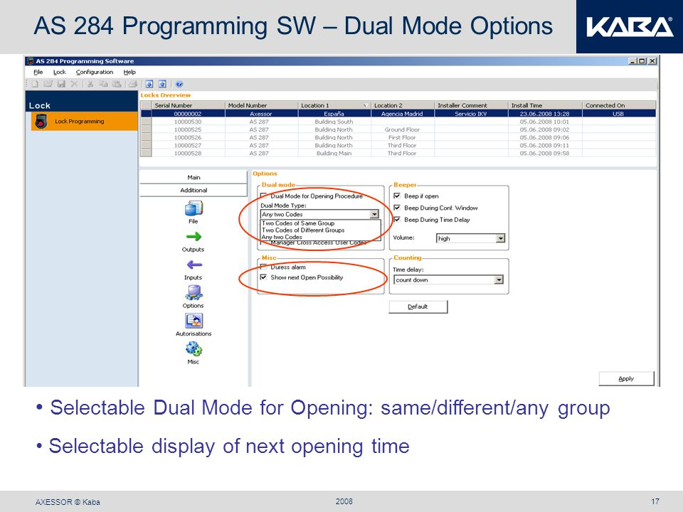 AS 284 Programming SW – Dual Mode Options