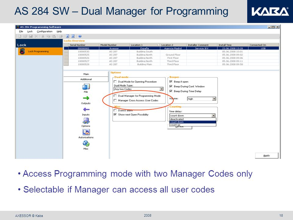 AS 284 SW – Dual Manager for Programming