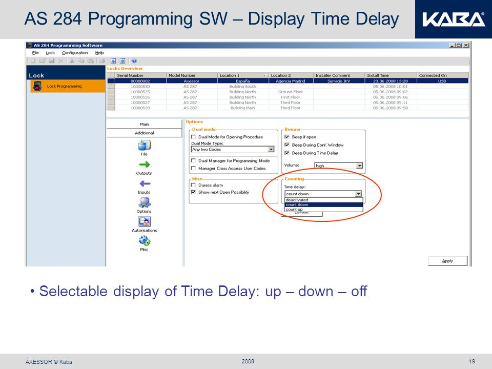 AS 284 Programming SW – Display Time Delay