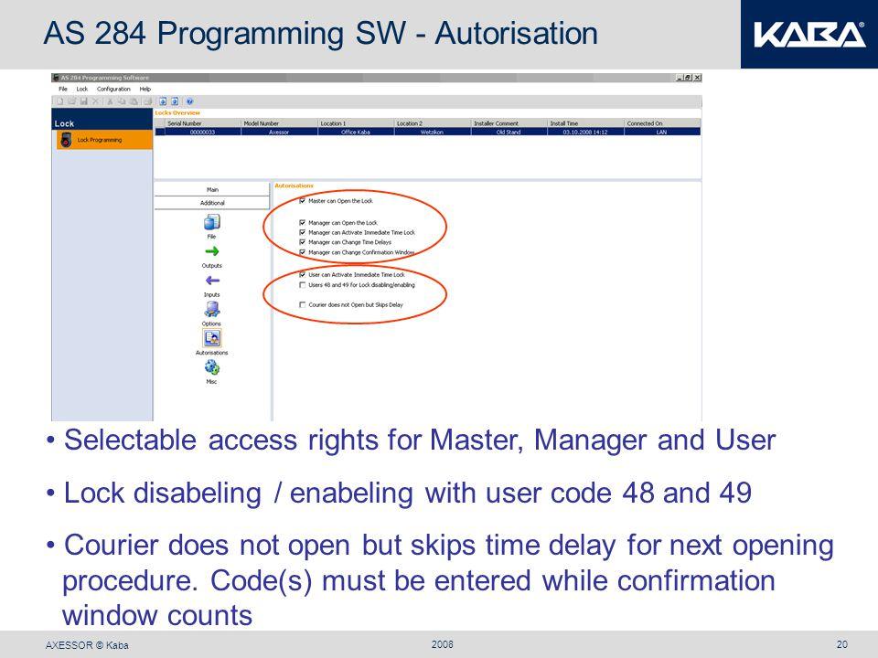 AS 284 Programming SW - Autorisation
