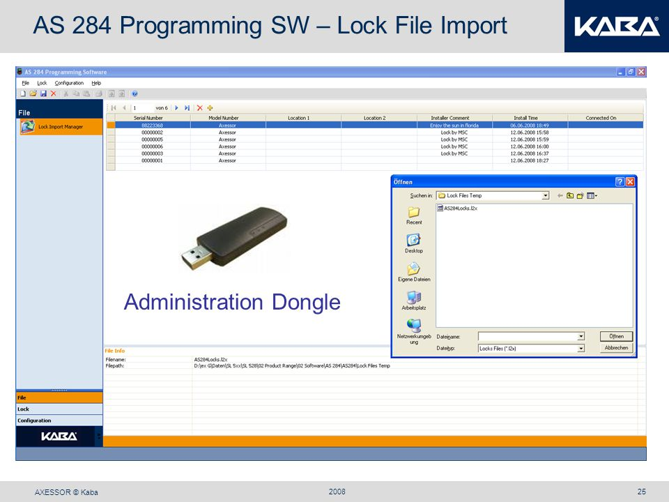AS 284 Programming SW – Lock File Import
