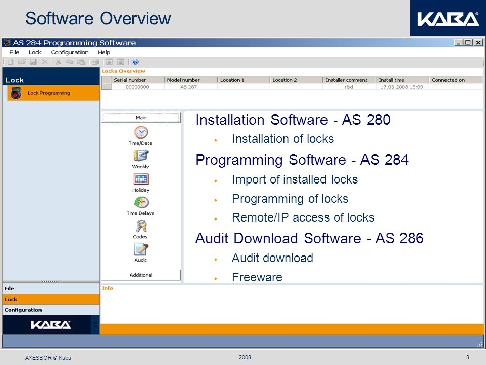 Software Overview Installation Software - AS 280