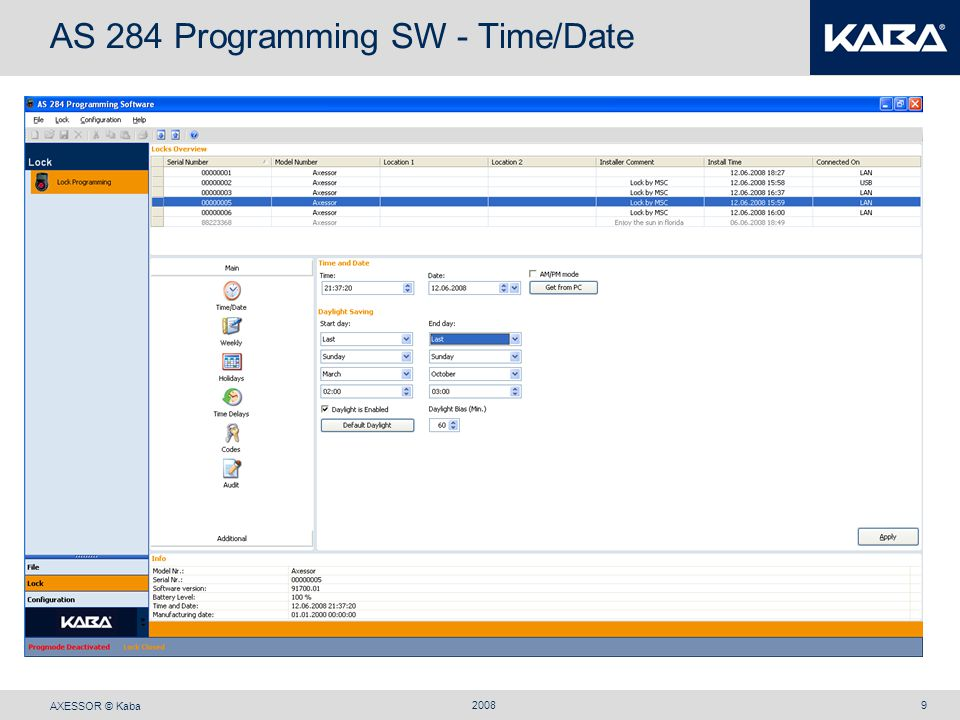 AS 284 Programming SW - Time/Date