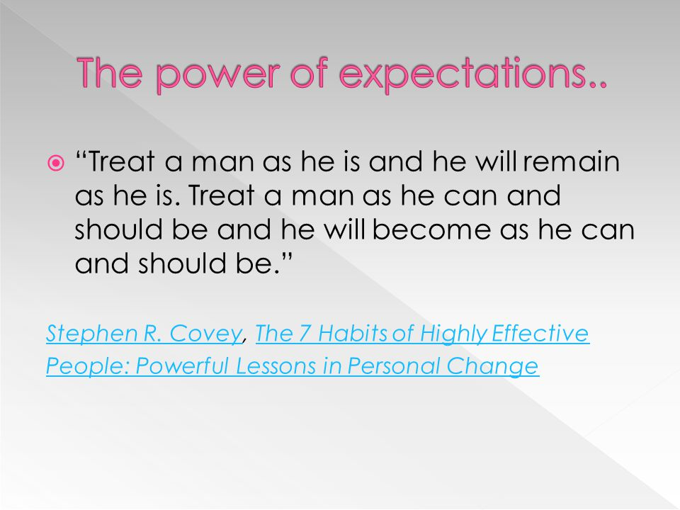 The power of expectations..