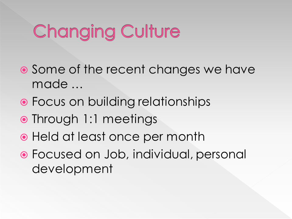 Changing Culture Some of the recent changes we have made …