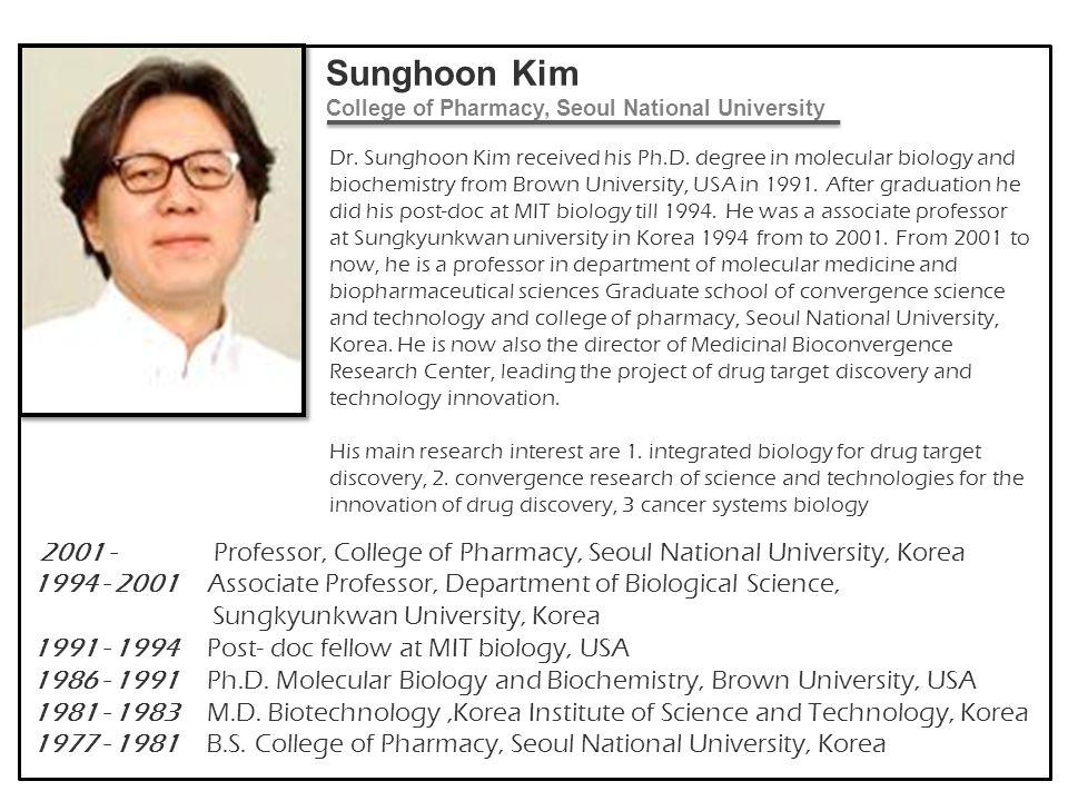 Sunghoon Kim College of Pharmacy, Seoul National University
