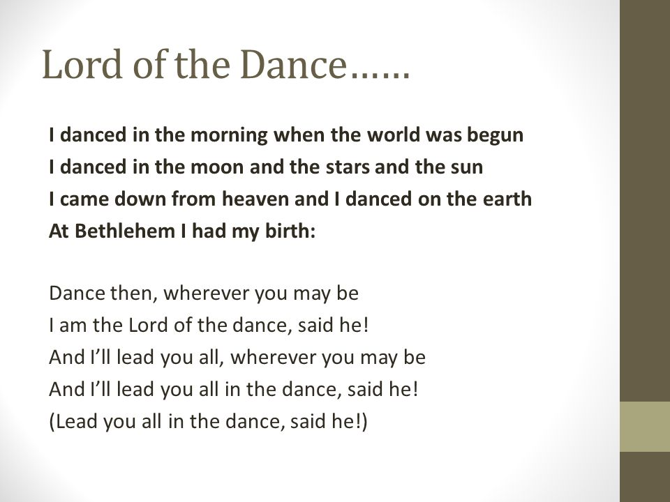 Lord of the Dance……