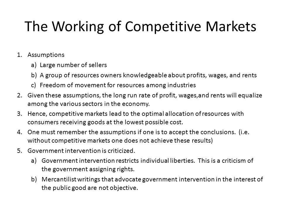 The Working of Competitive Markets