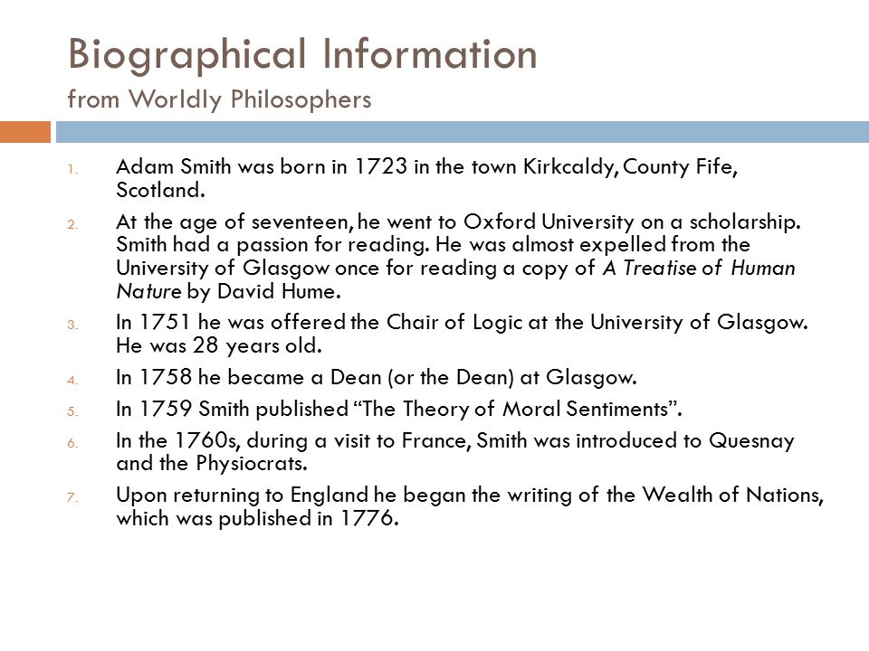 Biographical Information from Worldly Philosophers