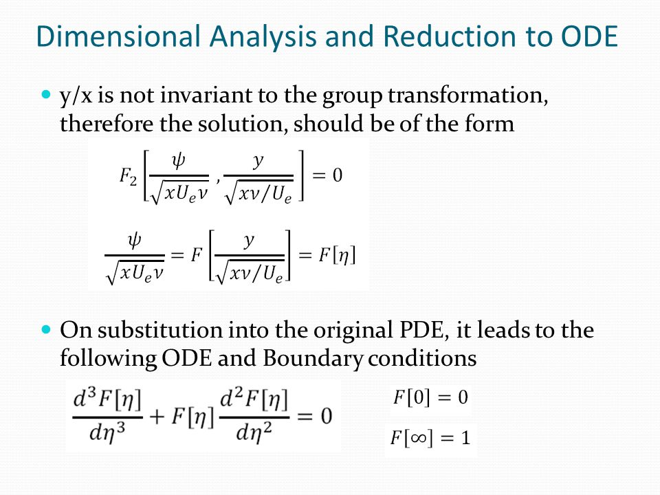 Dimensional Analysis and Reduction to ODE