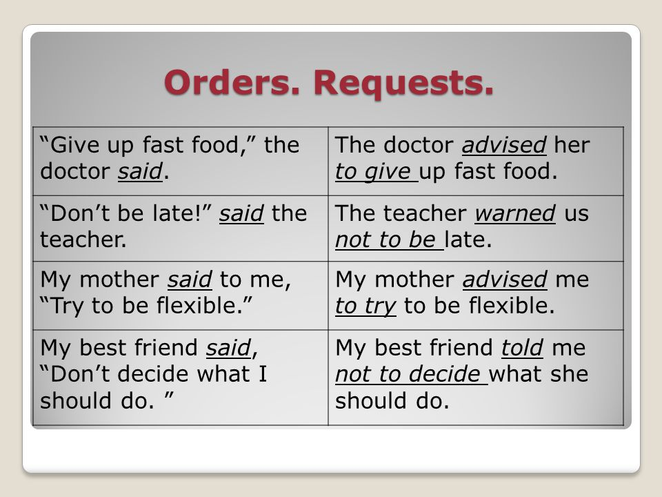 Orders. Requests. Give up fast food, the doctor said.