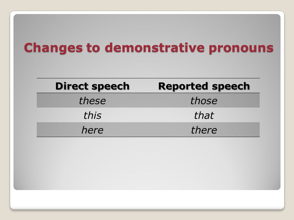 Changes to demonstrative pronouns