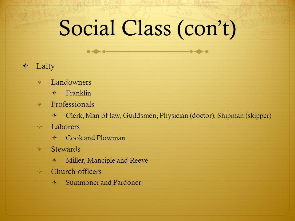 Social Class (con't) Laity Landowners Professionals Laborers Stewards