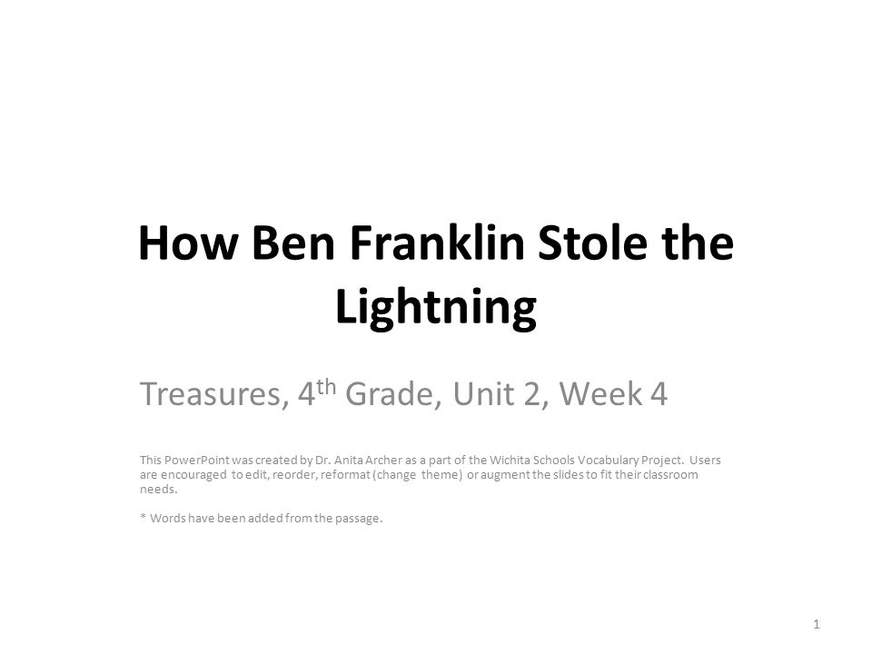 how ben franklin stole the lightning vocabulary powerpoint