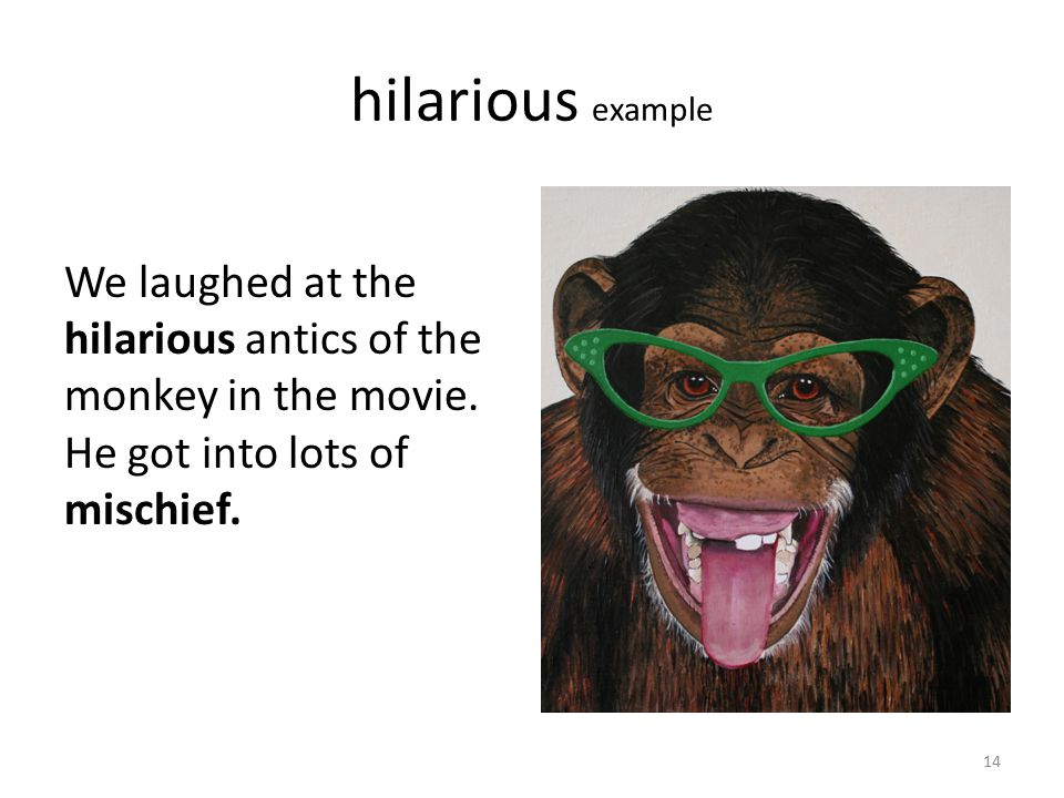 hilarious example We laughed at the hilarious antics of the monkey in the movie.