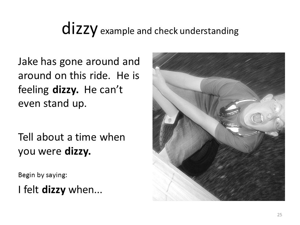 dizzy example and check understanding