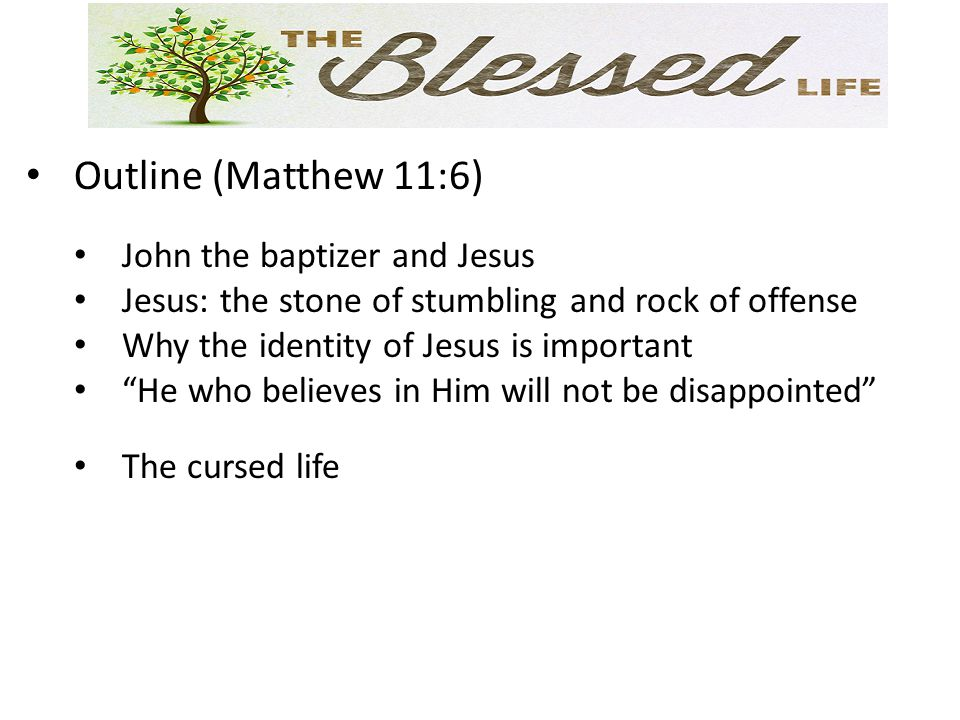 Outline (Matthew 11:6) John the baptizer and Jesus