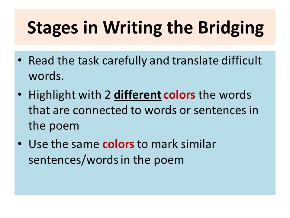 Stages in Writing the Bridging
