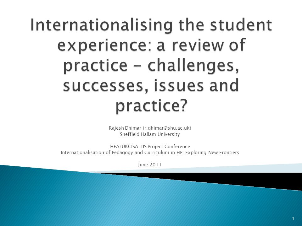 Internationalising the student experience: a review of practice - challenges, successes, issues and practice
