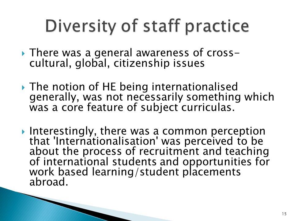 Diversity of staff practice