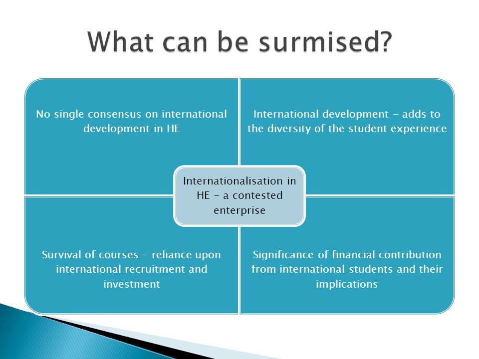 What can be surmised Internationalisation in HE - a contested enterprise. No single consensus on international development in HE.