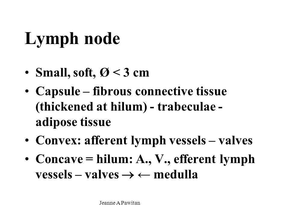 Lymph node Small, soft, Ø < 3 cm