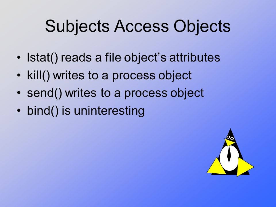 Subjects Access Objects
