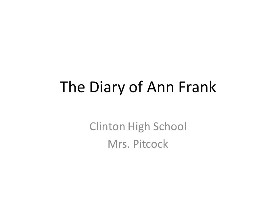 Clinton High School Mrs. Pitcock