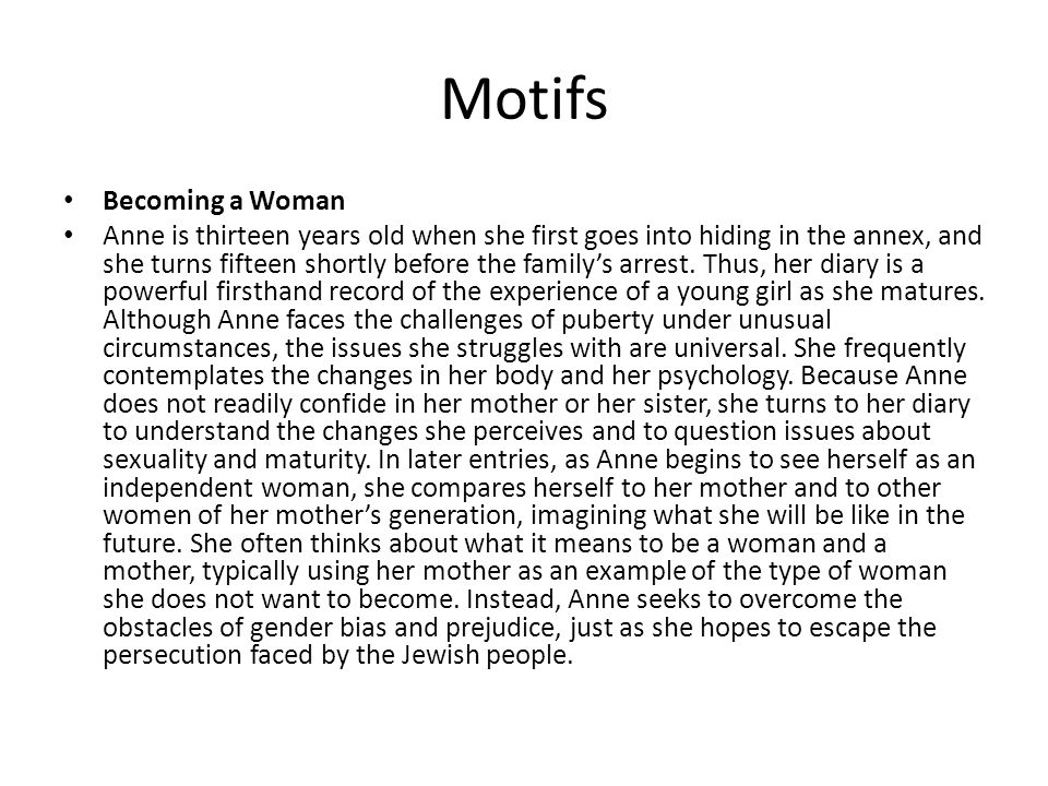 Motifs Becoming a Woman