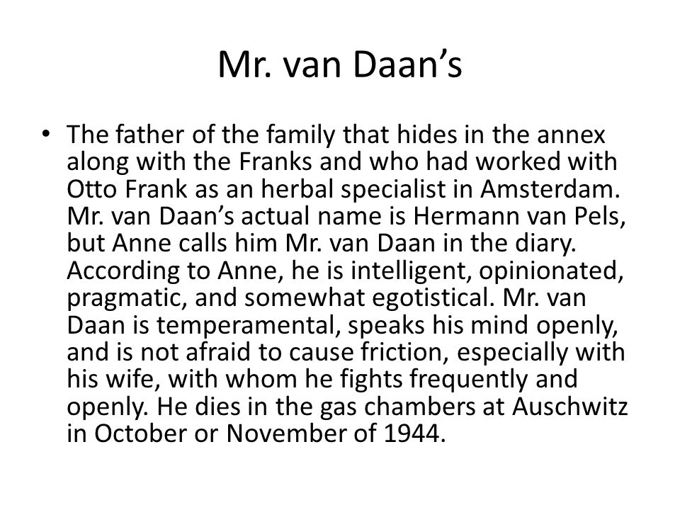 Mr. van Daan's