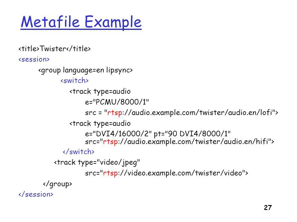 Metafile Example <title>Twister</title> <session>