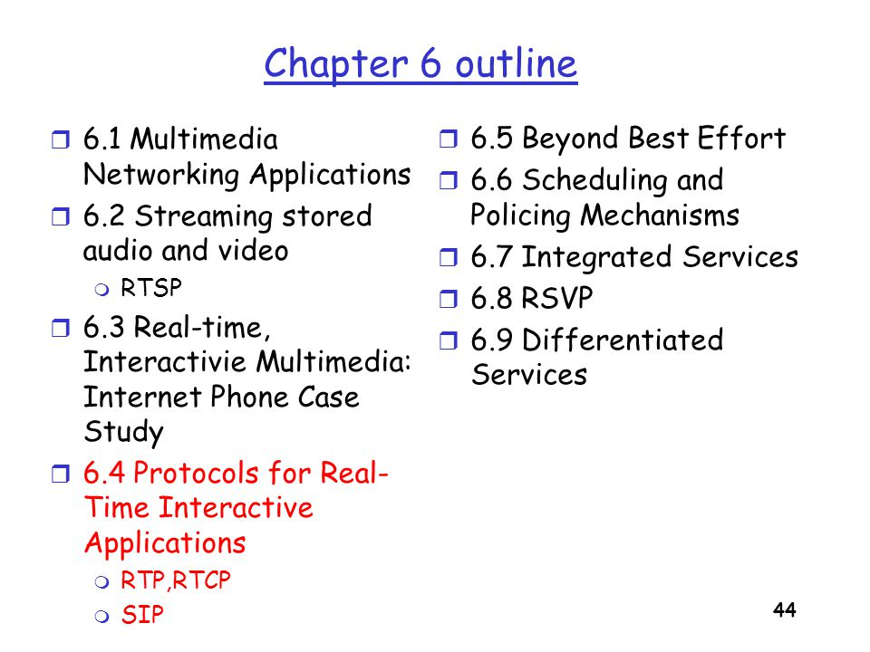 Chapter 6 outline 6.1 Multimedia Networking Applications