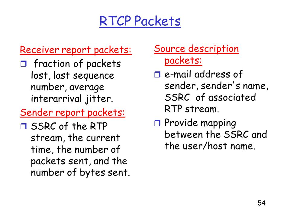 RTCP Packets Source description packets: Receiver report packets:
