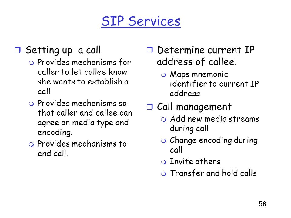SIP Services Setting up a call Determine current IP address of callee.