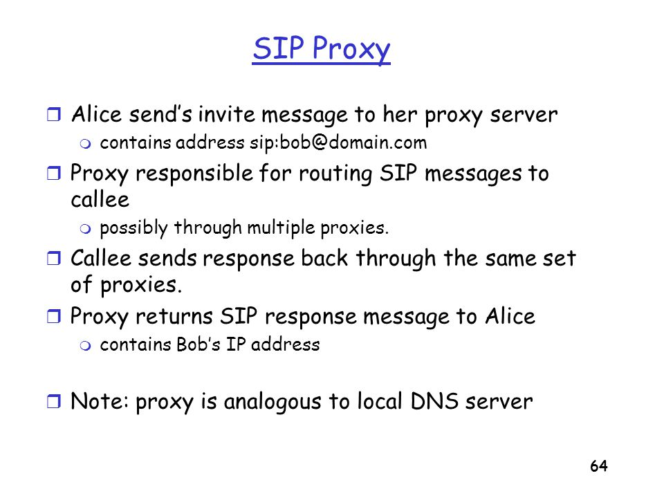 SIP Proxy Alice send's invite message to her proxy server