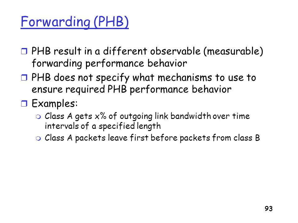 Forwarding (PHB) PHB result in a different observable (measurable) forwarding performance behavior.