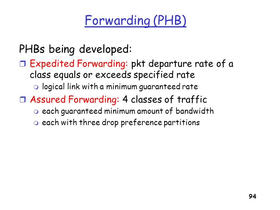 Forwarding (PHB) PHBs being developed: