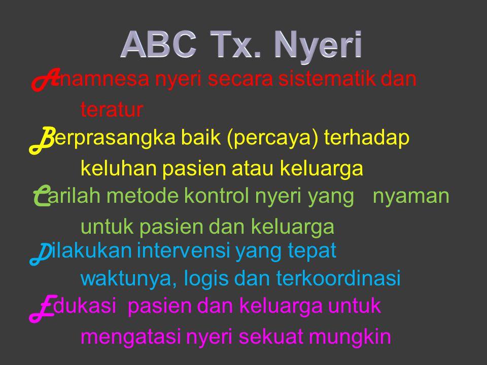 ABC Tx. Nyeri Anamnesa nyeri secara sistematik dan teratur