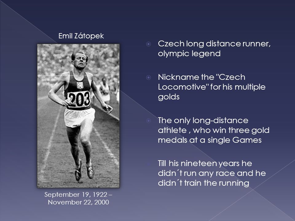 Czech long distance runner, olympic legend