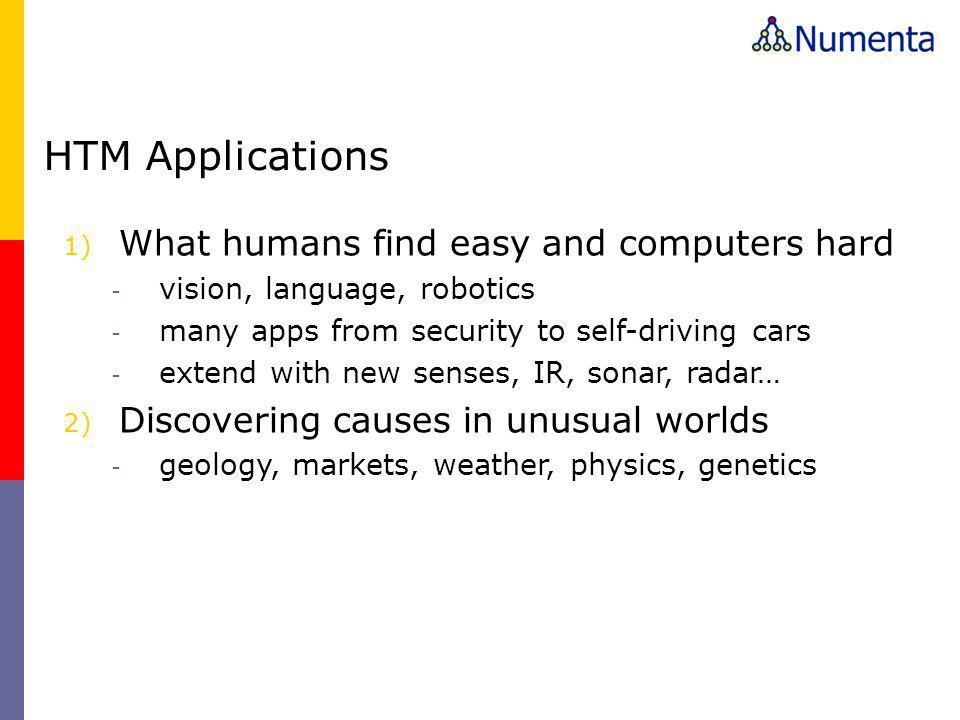 HTM Applications What humans find easy and computers hard
