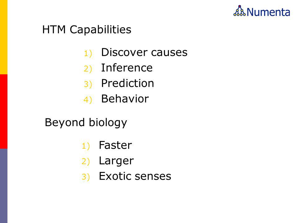 HTM Capabilities Discover causes. Inference. Prediction. Behavior. Beyond biology. Faster. Larger.
